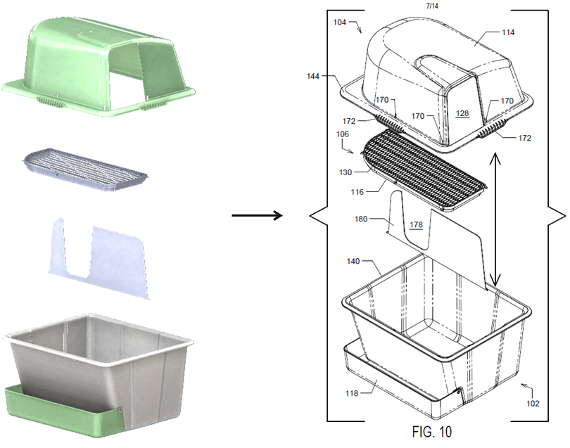 Pet Box Design Drawing converted to Utility Patent Illustration